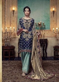 Maria B Darya-e-Noor Bridal Chiffon Collection With Heavy Embroidered Sequence Applique Mysori Dupatta (Replica)(Unstitched) Pakistani Formal Dresses, Pakistani Wedding Outfits, Formal Dresses For Weddings, Indian Dresses, Indian Outfits, Formal Wedding, Wedding Suits, Bridal Dresses Online, Bridal Party Dresses
