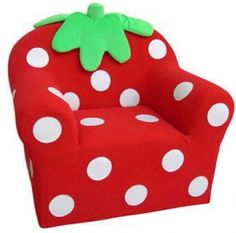This comfy little Strawberry Chair will sure be the sweetest part of any childs room. Strawberry Beds, Strawberry Kitchen, Strawberry Shortcake Party, Strawberry Patch, Big Comfy Chair, Rocking Chair Porch, Kids Sofa, Toddler Chair, Strawberry Fields Forever