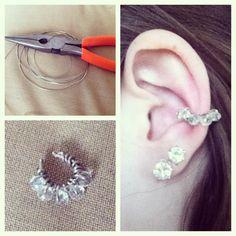 DIY ear cuff! Bling earrings. Pretty. Wire project. Jewlery