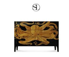 Octopus Chest with inlaid wood by Scala Luxury