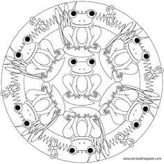 Don't Eat the Paste: Frog Mandala to color Frog Coloring Pages, Mandala Coloring Pages, Printable Coloring Pages, Coloring Pages For Kids, Coloring Books, Mandalas For Kids, Frog Crafts, Mandalas Drawing, Frog Art