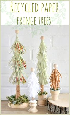 Easy to make and fun recycled paper fringe trees!