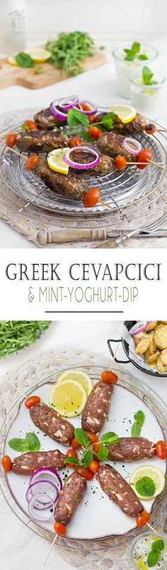 Griechische Cevapcici mit Minz-Joghurt Dip [Weight Watchers Rezept Authentic Cevapcici with Min-Yoghurt-Dip - Weight Watchers Recipe . Good Carbs, Healthy Carbs, Greek Recipes, Whole Food Recipes, Healthy Recipes, Cevapcici Recipe, Clean Eating Recipes, Cooking Recipes, Greek Gyros