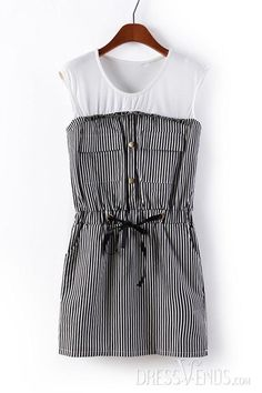 Color, Dresses , $16.99, Fashionable Round Neck Color Block Sleeveless Striped Dress