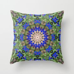 Peacock colored floral mandala throw pillow cover, blue, green kaleidoscope, symmetry, color photography, all occasion gift, living room by RVJamesDesigns on Etsy