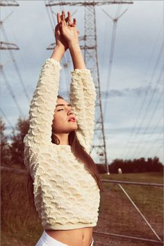 Cream textured knitted sweater