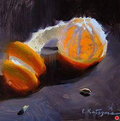Tangerine on Black - Original Fine Art for Sale - © by Elena Katsyura Painting Still Life, Still Life Art, Paintings I Love, Art And Illustration, Fruit Painting, Orange Art, Fruit Art, Art Oil, Painting Inspiration