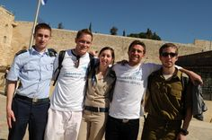 Taglit-Birthright Israel participants and the Mifgash ('encounter') with Israel Defense Forces (IDF) soldiers at the Western Wall in Jerusalem, Israel.