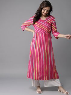 Best 12 Striped Kurtas – Buy Striped Kurtas online in India Plain Kurti Designs, Printed Kurti Designs, Simple Kurta Designs, Kurta Designs Women, Salwar Designs, Mehndi Designs, Long Kurta Designs, Latest Kurti Designs, Salwar Suit Neck Designs