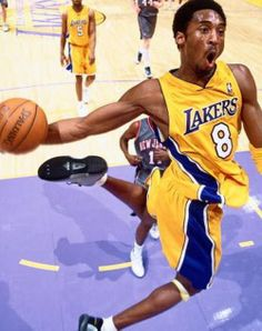 "Nicknamed the ""Black Mamba"", Kobe is an American professional basketball player for the LA Lakers. He entered the NBA directly from high school, and has played for the Lakers his entire career, winning five NBA championships. Love And Basketball, Basketball Legends, Sports Basketball, Basketball Players, Kobe Bryant Lakers, Kobe Bryant 24, Kobe Bryant Quotes, Dodgers, Lakers Game"