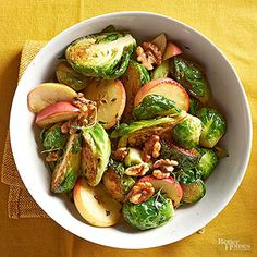 Brown Butter Brussels Sprouts and Apple from @BHG