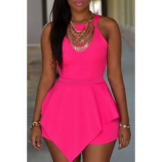 9f4c15a7f47 The fashion-focused Pink Sleeveless Peplum Romper dropship brings a new  twist to your warm-weather wardrobe.