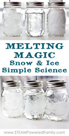 Melting Magic ~ Snow and Ice Simple Science - Snow Ice Simple Science is an experiment all ages can do and teaches valuable lessons about the molecular structure of water in ice form versus snowflake. via @steampoweredfam