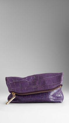 Small Alligator Leather Folded Clutch - Lyst