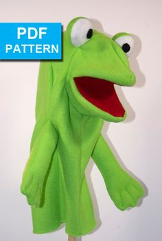 "Frog Hand Puppet Pattern with Move-able Mouth by TheTucsonPuppetLady, With our detailed instructions and video tutorials even someone with basic sewing skills can make this darling frog!  The only materials required are fleece, felt, foam and a little bit of stuffing.  See ""Freddie the Frog"" in action at the video link at our Etsy (www.Etsy.com/shop/TheTucsonPuppetLady) store!  www.TheTucsonPuppetLady.com"