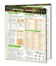 Inorganic Chemistry - 4-page, laminated. This Guide provides invaluable reference material to anyone who requires readily accessible information concerning the basic principles that underlie this complex science. The Guide carefully references the Periodic Table with the specific definitions of the Groups of Elements and their specific ionic characteristics.