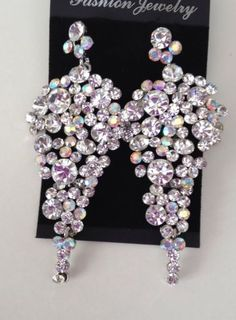 Ab Cluster Crystal Chandelier Earrings Bollywood Bling Costume Jewellery Silver