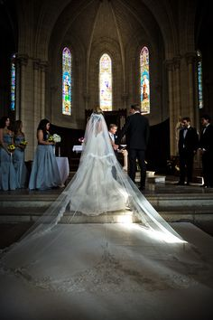 My cathedral drop veil. Chateau Challain Wedding Loire Valley France