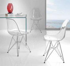 Chaise de salle à manger design en polycarbonate transparent WILMA, piètement chromé