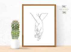 Welcome to Elegant Line Creations! Continuous line drawing of two people holding hands. A lovely way of showing affection to that special someone. This is a Pri Hand Holding Something, People Holding Hands, Hand Lines, Continuous Line Drawing, Small Canvas Art, Hand Art, Wall Art Quotes, Simple Art, Printable Wall Art