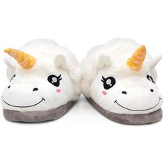 Unicorn Slippers ❤ liked on Polyvore featuring shoes and slippers