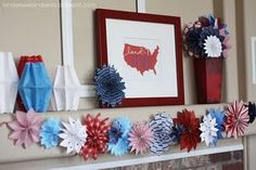 Patriotic Fireworks garland tutorial by I heart naptime. With different scrap paper, could be used for multiple holidays/seasons. Fourth Of July Decor, 4th Of July Decorations, 4th Of July Party, Diy Party Decorations, July 4th, Paper Decorations, July Crafts, Holiday Crafts, Holiday Fun