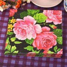 High-grade Club Vintage Rose Flower Paper Napkins Cafe&Party Tissue Napkins Decoupage Decoration Paper 33cm*33cm 20pcs/pack/lot