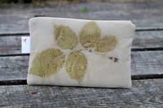 Silk Eco-friendly pouch eco print makeup bag  clutch by JSsewing