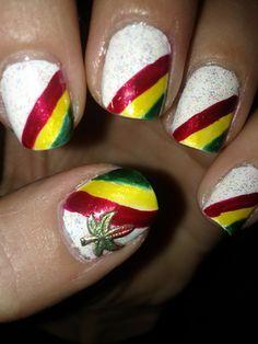 Yellow black pot leaf nail design 420 stoner nails pinterest weed leaf rasta nails prinsesfo Gallery
