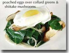 Poached Eggs Over Collard Greens & Shiitake Mushrooms