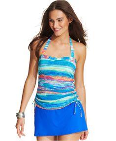 Real Bodies Real Solutions Printed Side-Tie Tankini Top & High-Waist Swim Skirt - Swimwear - Women - Macy's