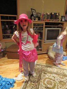 We had a relay race to get accessorized with items in a pillowcase. Each girl had to put on all the content, pose for a picture, and put items back in pillowcase. The girls had a lot of fun doing this.