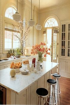 Gorgeous kitchen design ideas and decor ~ beautiful windows and French doors, light and bright from coffeepearlsandpoetry