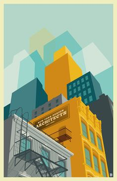My prints will show you the great diversity of architecture you can find in New York City. Inspired by the intense colors, layers, and the awesome vibe of this great city I made these series of prints in Adobe Illustrator CS6.