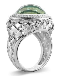 Basketwoven Green Amethyst & Diamond Ring, Size 7 by Slane Jewelry at Last Call by Neiman Marcus.