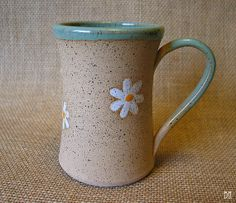 MADE TO ORDER  Daisy Mug  Stoneware Mug  Coffee by DragonflyArts, $24.00