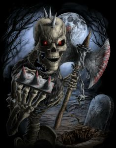 Fantasy and Sci-fi at their best. Arte Horror, Horror Art, Dark Fantasy Art, Dark Art, Skeleton Warrior, Evil Dead, The Crow, Totenkopf Tattoos, Skull Pictures