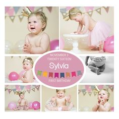 INSTANT DOWNLOADABLE Girls Pink Cake Smash Photoshop Template, customizable by DigiStock on Etsy