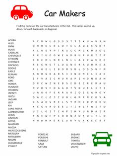 Car Makers Word Search - Another free printable puzzle from Puzzles to Print! Puzzles For Kids, Activities For Kids, Senior Activities, Indoor Games For Adults, Printable Crossword Puzzles, Printable Word Games, Puzzle Logo, Word Search Puzzles, Free Word Search