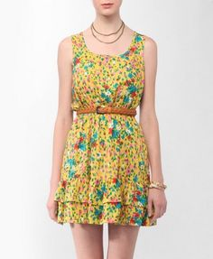 Ruffled Floral Print Dress | FOREVER21 - 2000045749