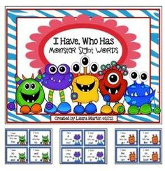 I have, who has free sight words game with a monster theme for kindergarten