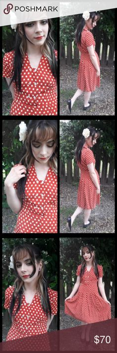 Beautiful Vtg 40's hand made dress! This dress is just Gorgeous! Material feels like rayon. Drop waist pleated skirt, pearly buttons in front. 2 circular small stamp stains and a repair on neck in back (See last 3 pics). These are not noticeable when wearing. Reminds my of the notebook! Dark reddish orange with cream. Measurements upon request. Fits like a small or xsmall. Vintage Dresses Midi