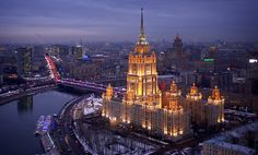 He wasted no time in getting started. Agencies, tourism bureaus, and other clients commissioned Chapple for photos of iconic sites, such as Hotel Ukraina in Moscow, Russia, seen below.