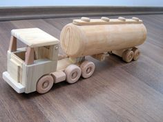 Tony the large tanker - a wooden semi-trailer toy truck, flat nose cabin with a peg man Woodworking Workshop, Woodworking Plans, Woodworking Projects, Wooden Toy Trucks, Wooden Car, Wooden Projects, Wooden Crafts, Model Truck Kits, Center Console Boats