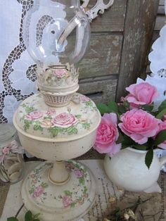 """Керосиновая лампа """"Венок из роз"""" - бледно-розовый,керосиновая лампа,розы"""