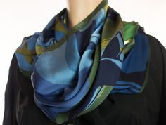 PALSMA PICASSO Silk Scarf Square 34 X 34 Hand Hemmed Blue Green Silky Soft #PalsmaPicasso #Scarf