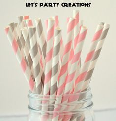 Light Pink and Gray Paper Straws, 50 Striped Paper Straws, Pink and Gray, Cake Pops, Pink Weddings, Pink Baby Shower, on Etsy, $8.00