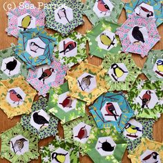 Garden birds and spring flower epp hexie quilt blocks. Fabrics from Sea Parrot. Patchwork Fabric, Fabric Scraps, Garden Birds, Quilting Projects, Spring Flowers, Quilt Blocks, Parrot, Fabric Design, Blankets