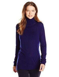 Lacoste Women's Long Sleeve Contrast Wool Turtleneck Sweater, Ocean/Stone Chine, 34