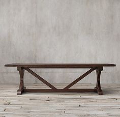 RH's Salvaged Wood X-Base Rectangular Extension Dining Table:Our salvaged wood X-base table is handcrafted of unfinished, solid reclaimed pine timbers from 100-year-old buildings in Great Britain.
